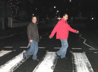 Ray Monell and Jeffrey Friend cross Abbey Road